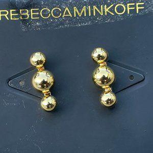 Rebecca Minkoff Earrings Gold Plated Triple Bali S